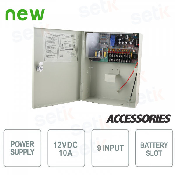 12V Power Box - 10A - 9 Outputs - Support for Batteries - Setik